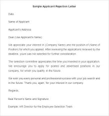 Application Rejection Letter Template Sample Rejection Letter