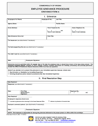 Employee Grievance Form Virginia Grievance Procedure For State Employees Employment Law