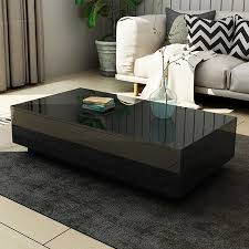 modern coffee table 4 drawer storage shelf high gloss wood living room furniture black
