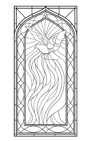 Small Picture Stained Glass Window with Holy Spirit Coloring page Zentangles