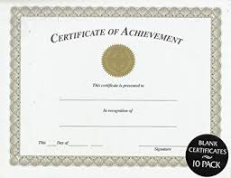 blank certificates amazon com certificate of achievement blank 10 pack office products