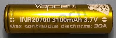 Vapcell Gold 30a 3100mah 20700 Battery Mooch Batteries