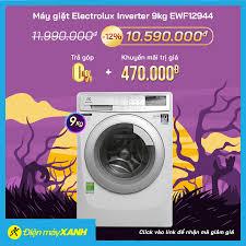 Điện máy XANH (dienmayxanh.com) - 🔰Máy giặt Electrolux Inverter 9kg  EWF12944 🔥Giá sốc: 10.590.000 ₫ 🔥Giá thường: 11.990.000 ₫ (-12%) 🎁Săn mã  giảm thêm đến 8% 🎁Tặng thêm Khuyến mãi trị giá