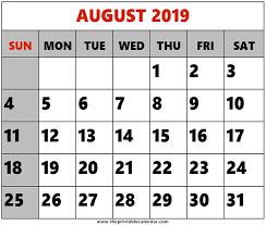 August Calandar August 2019 Printable Calendars