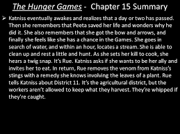 The Hunger Games - Chapter 15 Summary  Katniss eventually awakes and  realizes that a day