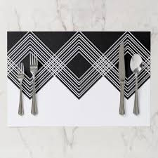 Abstract Geometric Pattern - Black And White. Paper Placemat