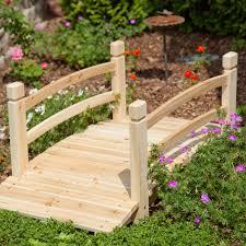 4 ft wood garden bridge walkway backyard patio yard water resistant unfinished