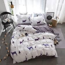 sinonics cotton bedding sheet pillowcase duvet cover set elk printing queen double full twin bed linen
