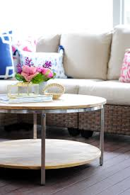 pottery barn round woven coffee table