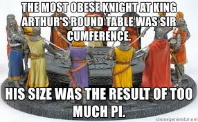 the most obese knight at king arthur s round table was sir ference his size was the result of too much pi sir ference meme generator