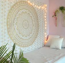 golden mandala tapestry wall hanging twin size boho dorm room indian ombre tapestries beach blankets picnic throws bedspread by oussum com