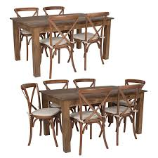Great price for an upupholstered chair. 60 X 38 X Antique Rustic Stained Farm Table Set With 4 Or 6 Pecan Cross Back Chairs And Cushions Foldingchairsandtables Com