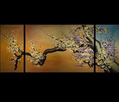 cherry blossom abstract modern art painting canvas wall art framed
