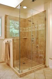 luxury frameless glass shower doors with stainless steel shower panels attached brown marble wall tiled as decorate in half enclosed walk in shower ideas