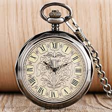 popular wind up clock buy cheap wind up clock lots from wind luxury dark grey hand wind mechanical pocket watches for men women retro fashion wind up trendy