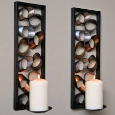 ... Interesting Decorative Wall Sconces Two Sets Of Large Candles On The  Wall And A Combination Of ...