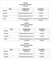 weekly assignment template assignment schedule template 6 free word excel pdf format
