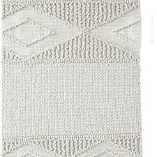 white textured wool rug