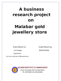 businese research project on malabar gold gold