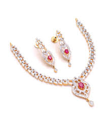 sa stylish cz stones american diamond necklace set with center red ruby stone