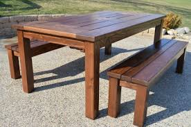 diy outdoor table. Finished Ice Box Patio Table With Benches, Kruse\u0027s Workshop On Remodelaholic Diy Outdoor B