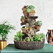 fairy garden pot resin stump tree house
