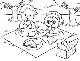 Pleasant Picnic Coloring Page Basket Family Colouring Pages Ants