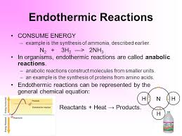 endothermic reactions consume energy example is the synthesis of ammonia described earlier