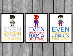 Superhero Bedroom Decor Superhero Wall Art Boys Bedroom Decor Set Of By Littlemissavery1