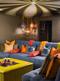 eclectic lighting. Ceiling Designs And Pendant Lighting Also Blue Sectional Sofa In Eclectic Family Room Design Ideas With Decorative Throw Pillows Plus Wall Coverings For M
