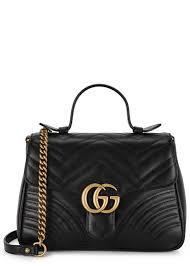 Gucci GG Marmont <b>black leather top handle</b> bag - Harvey Nichols