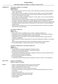 Resume For Teaching Assistant Teaching Assistant Resume Samples Velvet Jobs 21