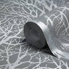 A.S. Creation Life Grey & Silver Tree Print Metallic Wallpaper    Departments   DIY at B&Q