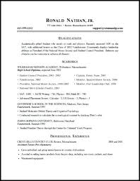 Sample Resume For High School Student Beauteous Sample Student Resumes Great Resume Examples For College Students