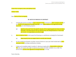 Breach Of Employment Contract Breach Of Contract Notice Template UK Template Agreements And 11