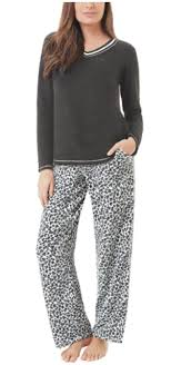 Aria Collection Aria Collection Womens 2 Piece Stretch Microfleece Pajama Set Black Animal Medium Walmart Com