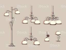 Satz Von Sechs Luxuslampen Mit Schmieden Kronleuchter