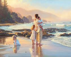 2018 beach father and his children pure hand painted oil painting on canvas 16x20inch from happypingfirst 60 31 dhgate com