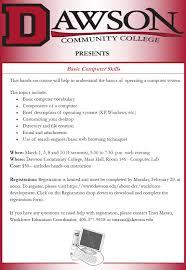 basic computer skills training class community college basic computer skills training class