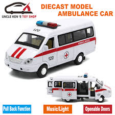 cast russian ambulance gaz gazel scale model metal car toys for boys or kids as gifts with functions