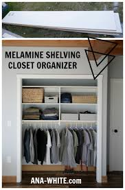 another crazy thing we did with this closet organizer was build it with melamine shelving