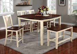 Dover Ii Counter Height Dining Set W Bench Cherry And White By