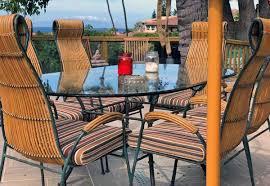 striped sunbrella rain chair cushions complete tropical patio seating