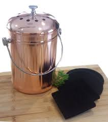 compost pail bin bucket for indoor kitchen countertop copper coated stainless