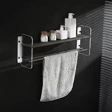bathroom wall shelf towel bar in black