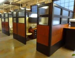 cubicle office space. laminate panel and glass cubicles in open brick office building by connecting elements cubicle space