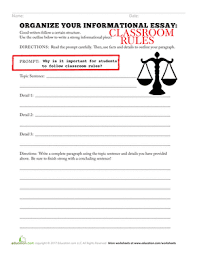 organize your informational essay classroom rules worksheet  third grade reading writing worksheets organize your informational essay classroom rules