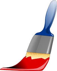 pincel con pintura. pincel, herramienta, pintura, pinta, rojo, color pincel con pintura