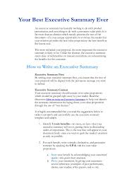 Writing Executive Summary Template Executive Summary