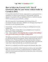 how to select the correct safe size of electrical cable for your moto  how to select the correct safe size of electrical cable for your motor vehicle trailer